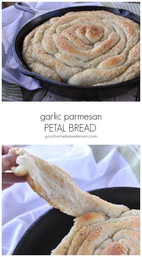 Garlic Parmesan Petal Bread is so easy to make with frozen bread dough!  @yourhomebasedmom.com