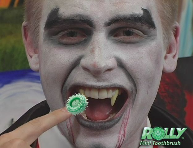 Vampires - clean your fangs between brushing with the Rolly Brush. It's portable, chewable and disposable so you can use it anywhere - even in the dark!