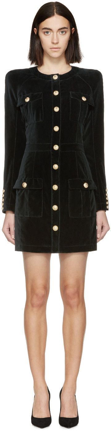 Balmain - Black Velvet Military Dress