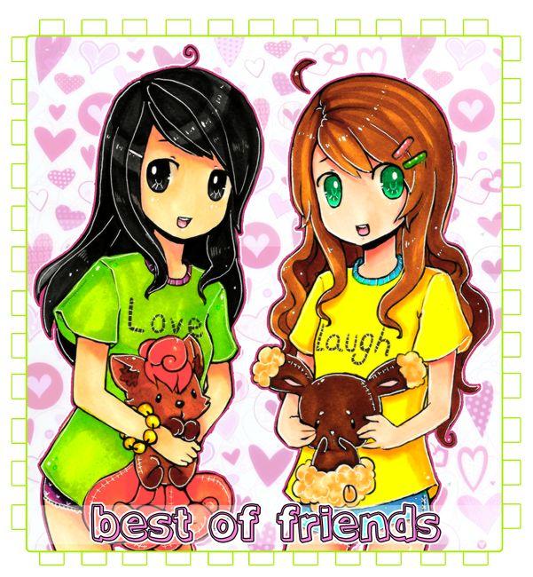 Simply Anime girl best friends cartoon