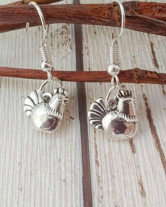 ilver Chicken Earrings, Hen Earrings, Chicken Keeper Gift, Animal Lover Gift, Gift for Her, Christmas Gift, Bird Earrings, Gift For Farmer,