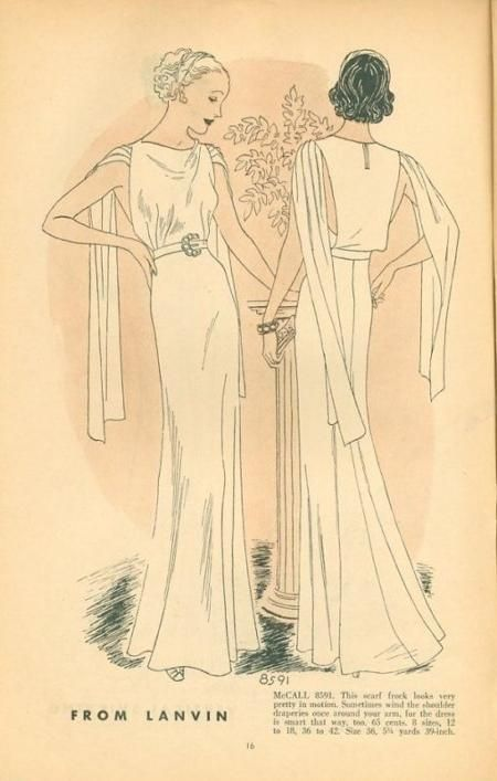 1930. Mccall8591 With some modifications, less drape at the bodice & not the trailing fabric on the arms
