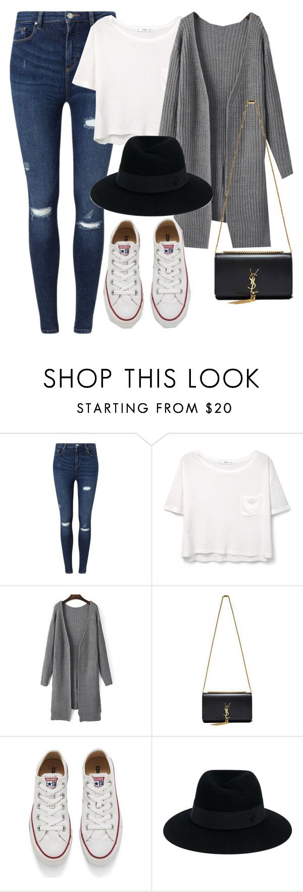 """Untitled #776"" by rguelsah ❤ liked on Polyvore featuring Miss Selfridge, MANGO, Yves Saint Laurent, Converse and Maison Michel"