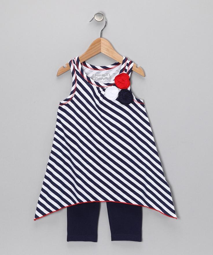 Navy Stripe Sidetail Tunic & Leggings - Toddler & Girls ...