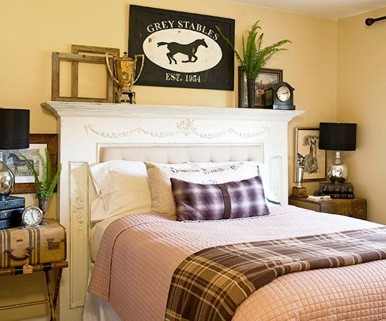 An old mantel proves to be just the thing for a statement-making headboard. Fill the firebox opening with an upholsterd cushion for extra comfort, and use the top of the surround for displaying favorite finds. Be sure to use the appropriate hardware for securing the heavy mantel to the wall.
