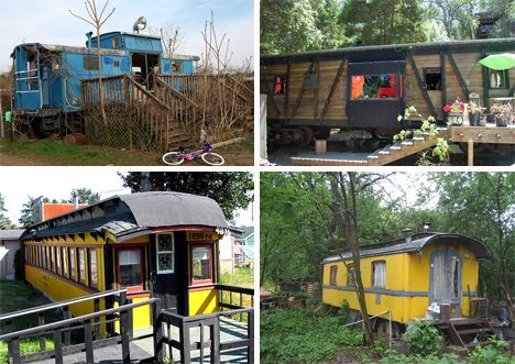 train carriage houses, there was some nice wooden trolly cars in memphis i wanted to try this on...  different but cool.