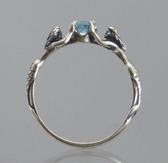 Anello con topazio blu o pietra della vostra scelta di sirena