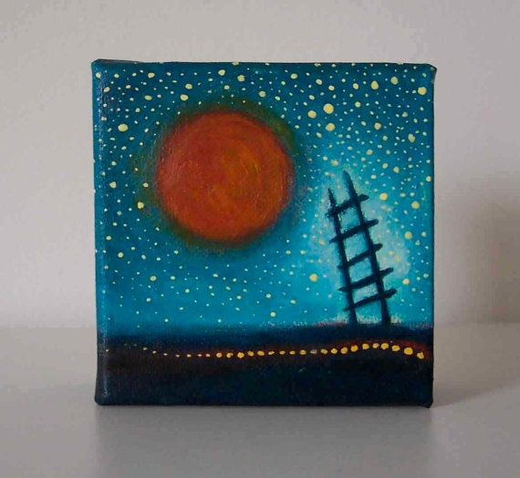 Ladder To The Sky  Original Painting  Ladder Sun and by artofjane, $25.00