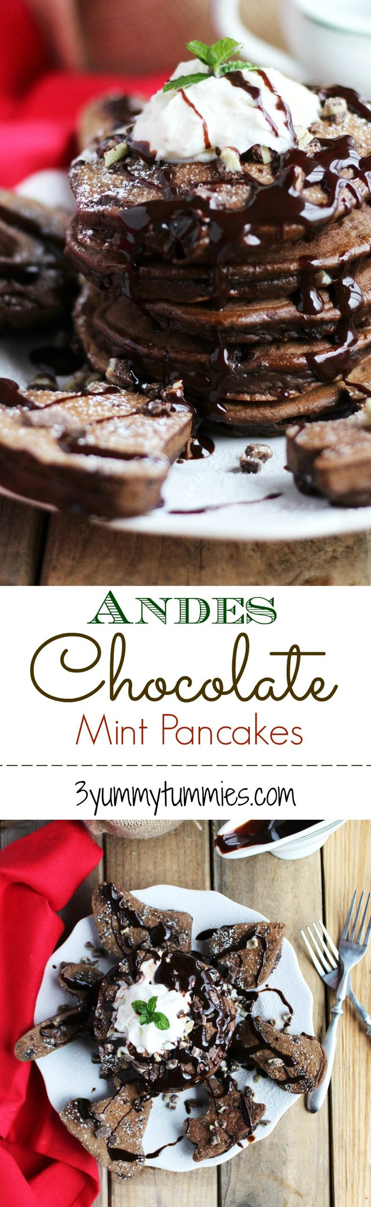 These perfectly fluffy pancakes are a chocolate lover's dream with Andes mint chips. Also, get great tips for perfect cookie cutter pancakes. These are so fun for the holidays.