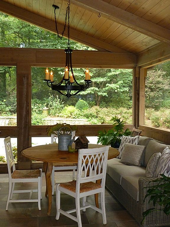 Stone, Craftsman, Screened Porch. I like the love seat by the table! I could probably do that. Spiders though?? Acccckkk..