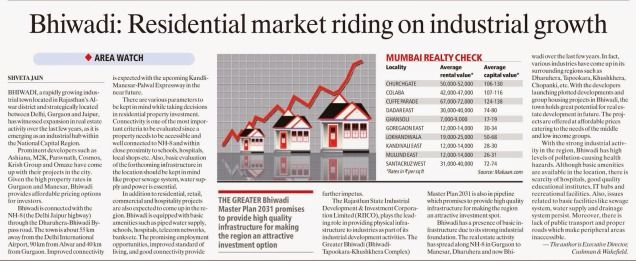 Bhiwadi residential market riding on industrial growth -Indian Express - June-07, 2014-Pg-14-2