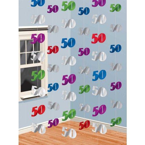 Decoratie Hangend 50/stk - 50 jaar - Verjaardag 18 - 100 | Feestwinkel.nl