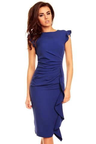Blue Structured Petal Sleeves Midi Dress