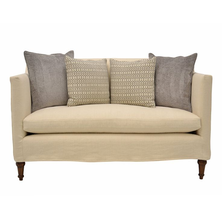 Quatrine Slipcovered Antoinette Loveseat With Decorative Loose Back Pillows