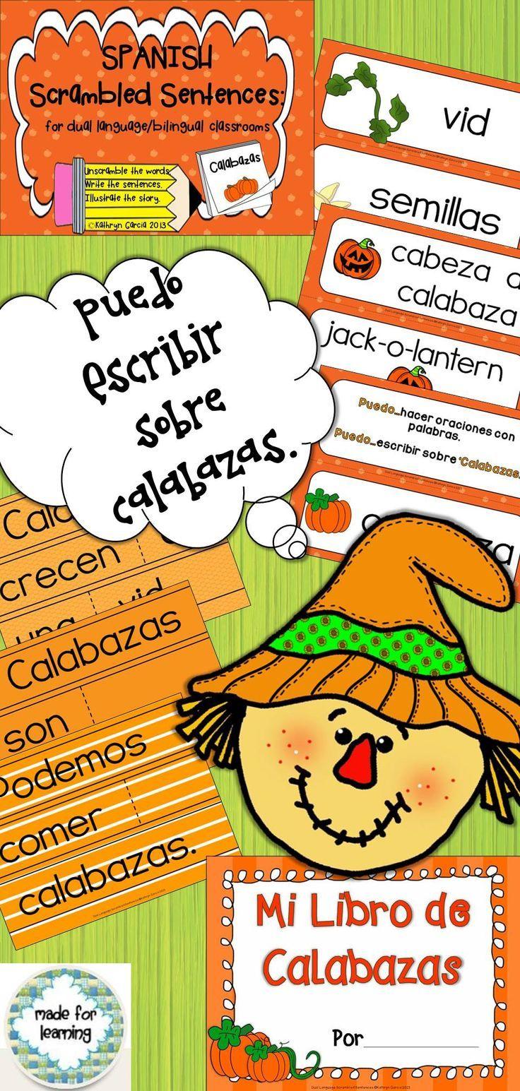 Bilingual dolphin counting card 6 clipart etc - Spanish Scrambled Sentences For Dual Language Bilingual Calabazas Pumpkins