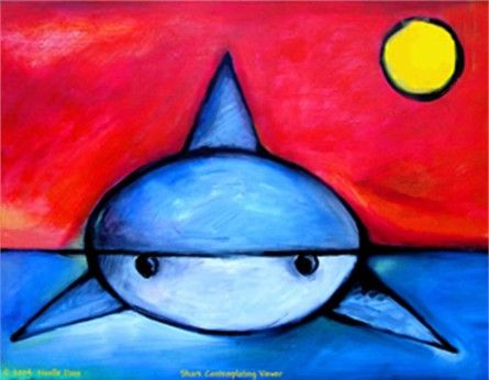 @rosenberryrooms is offering $20 OFF your purchase! Share the news and save!  Shark Contemplating Viewer Art #rosenberryrooms