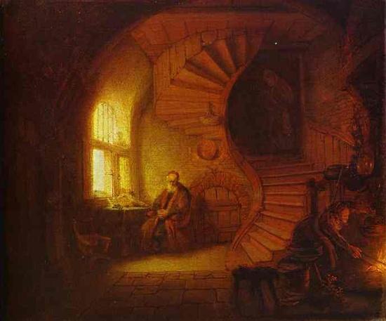 렘브란트의 '명상하는 철학자'.  바로크 작가지만 따뜻한 인간애를 보여주는 렘브란트의 그림이다. 빛과 어둠의 대조가 온화함을 더하는 것 같다. 바티칸의 나선형 계단을 내려가면 이런 모습을 볼 수 있을 것만 같다. 지하실 입구를 이렇게 꾸며볼까?