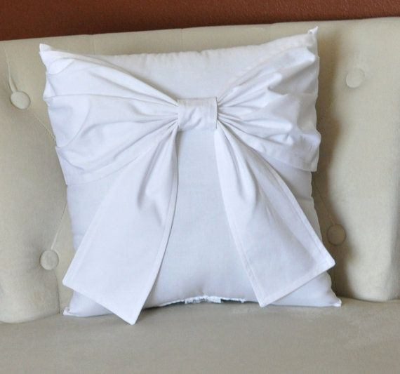 Throw Pillow With Bow : Bow on White Pillow Cover - Modern Bow Throw Pillow Cover - White Euro Sham - Decorative Pillow ...