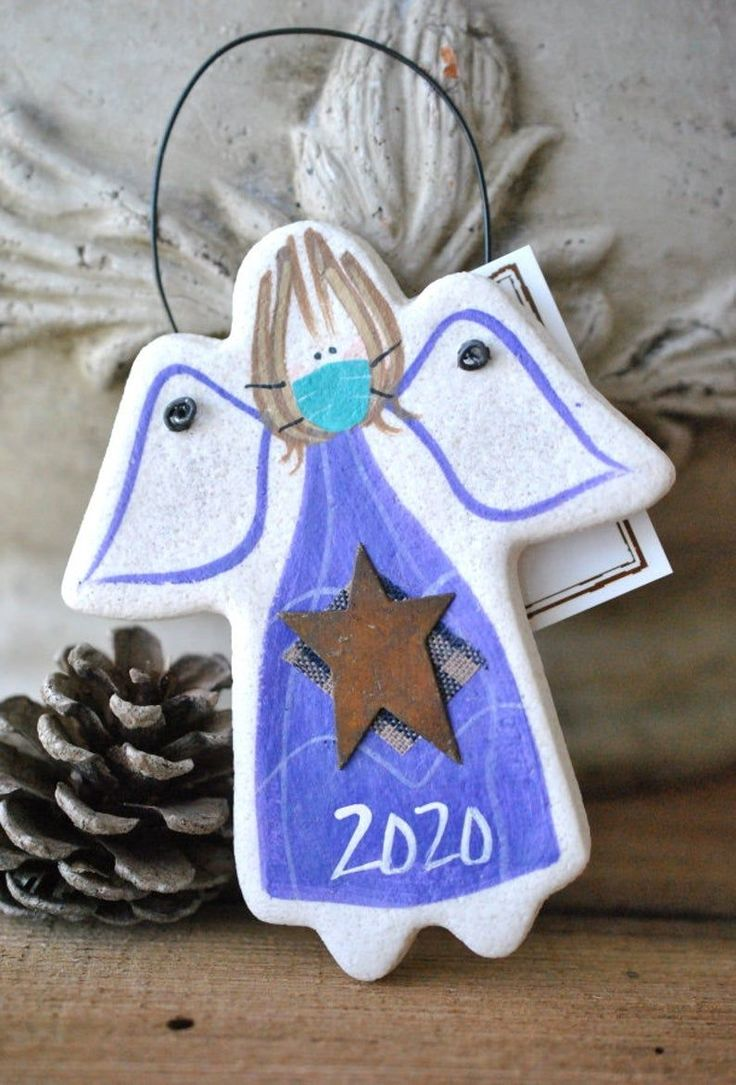 2020 Angel with Mask Christmas Salt Dough Ornament Etsy