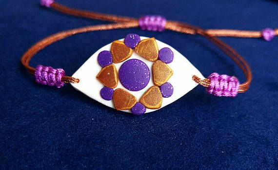 Colorful and Playful Evil Eye Bracelet (polymer clay) by Beejoujoux