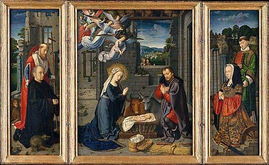 The Nativity with Donors and Saints Jerome and Leonard ca 1510-1523 Netherlandish  Donor's clothing in right panel.  From the Met