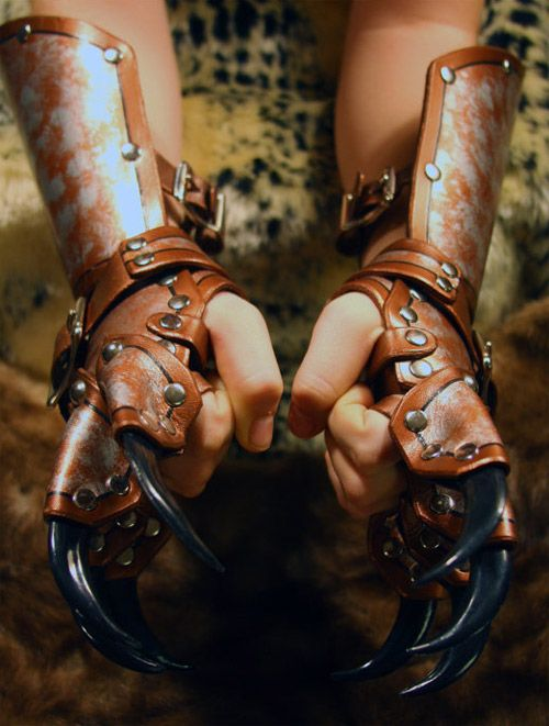Dragon gauntlets by whitedragonleather; etsy.