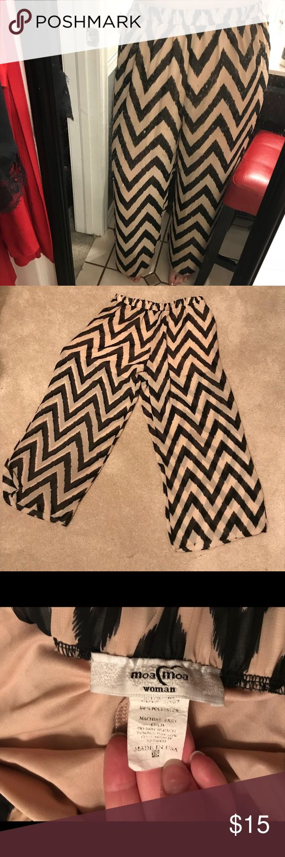 Chevron Wide-Leg Pants NWOT! These chevron pants pants are a sheer material. They are lined with nude colored shorts underneath. I have never worn them but they have been washed and dried (so the size tag is faded). Moa Moa Pants Wide Leg
