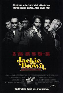 Jackie Brown is a 1997 American crime drama film written and directed by Quentin Tarantino. It is an adaptation of the novel Rum Punch by American novelist Elmore Leonard and pays homage to 1970s blaxploitation films, particularly 1974's Foxy Brown.  The film stars Pam Grier (who also played Foxy Brown in the film of the same name), Robert Forster, Robert De Niro, Samuel L. Jackson, Bridget Fonda and Michael Keaton.