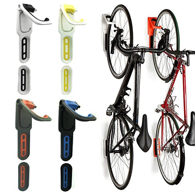 Reliancer 2 Pack Foldable Vertical Bike Rack Wall Mounted Bicycle