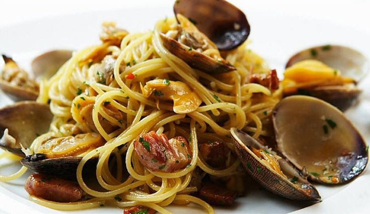 Clam and Pork Belly Pasta. It's Time for a Little Pasta! Combining the best of two worlds in one pasta dish.  The mouthy savory fullness of sauteed pork belly and the clean fresh brininess of clams all tossed in a light sauce and perfectly cooked pasta! www.creativeelegancecatering.com www.creativeelegancecatering.blogspot.com
