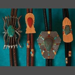 Bolo Tie in Gold and Rare Turquoise Sedona Indian Jewelry