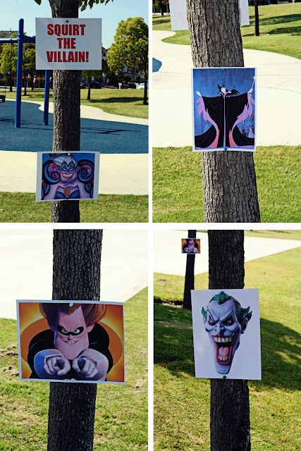 """fun game - """"Squirt the Villain"""" - post pics of villains on trees and use squirt guns to blast them"""