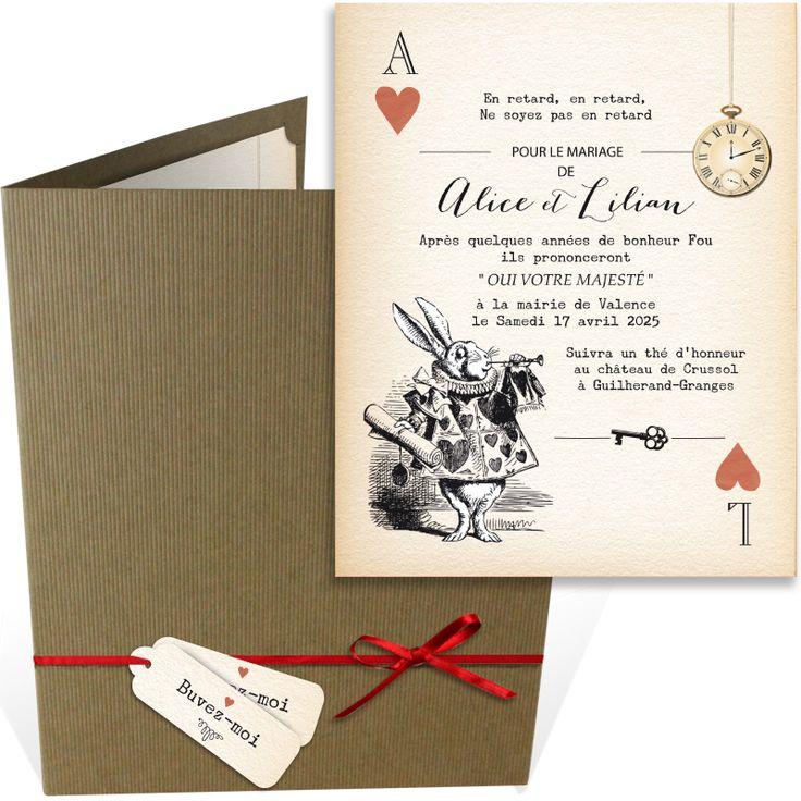 Faire part mariage pochette sur le thème féerique du conte de Lewis Caroll : Alice aux pays des merveilles. Inviter vos proches à l'un des plus beaux moments de votre vie avec un faire part unique, ref N92006