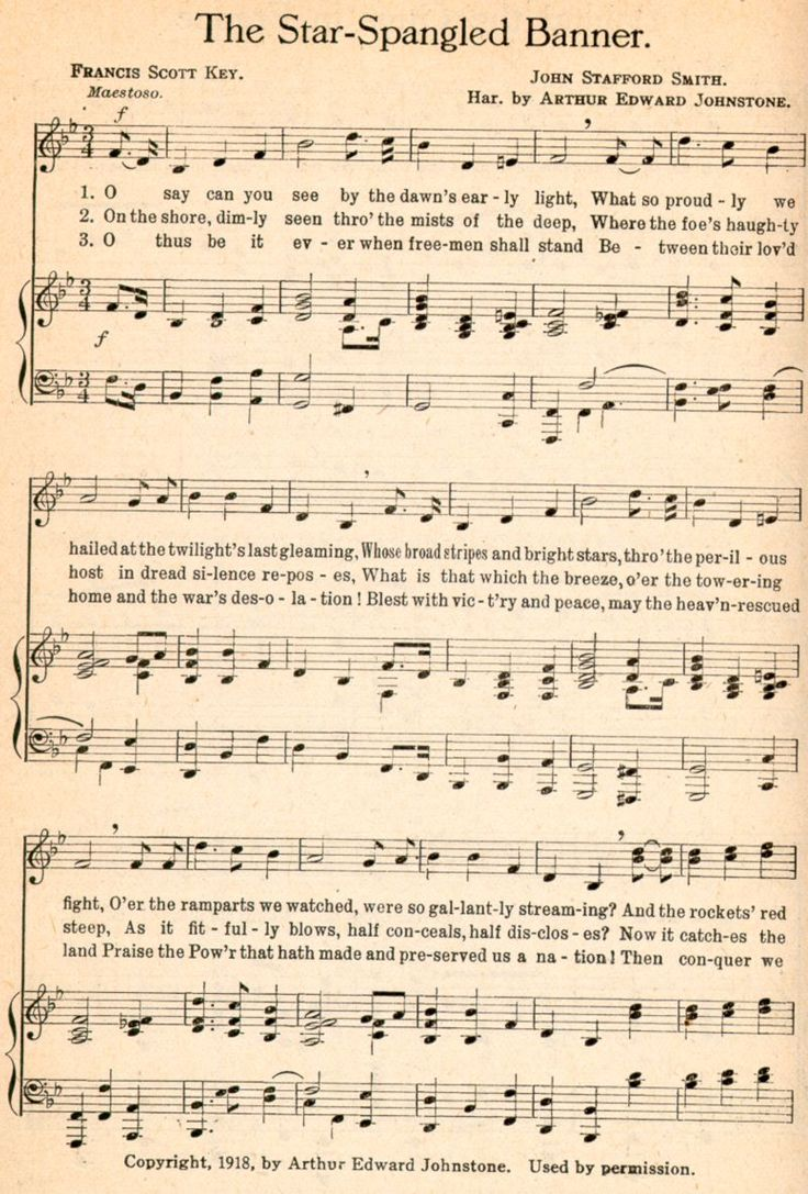The Star-Spangled Banner by Francis Scott Key (written in 1814) with the musical score