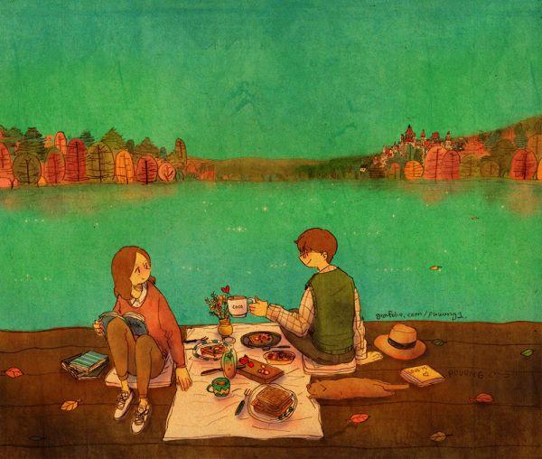 호수 근처에 앉아 함께 시간을 보냈어요. We sat on a lakeside and spent our time together.