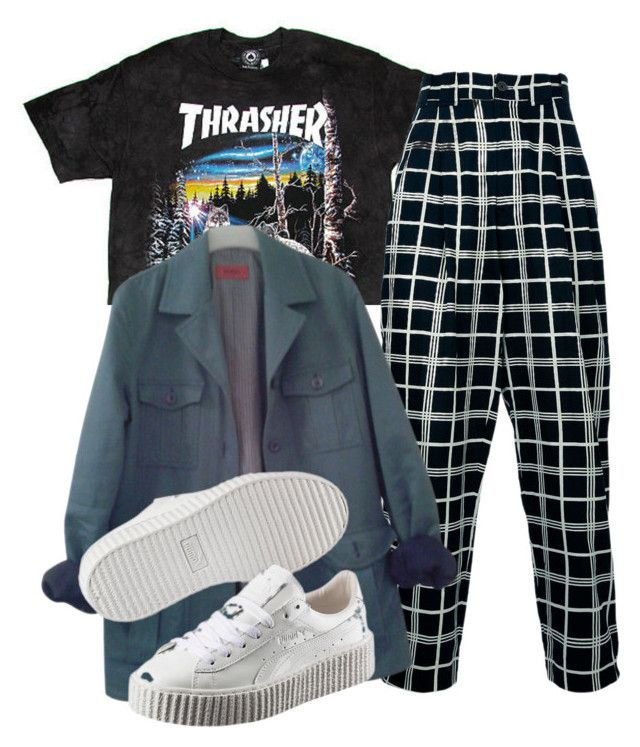 """""""Untitled #1423"""" by shyannelove123 ❤ liked on Polyvore featuring Versace, HUGO and Puma"""