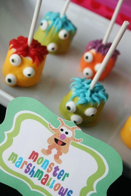 marshmallowsHalloween Parties, Birthday Parties, Monsters Parties, Monsters Marshmallows, Cake Pop, Parties Ideas, Party Ideas, Marshmallows Pop, Monsters Mashed
