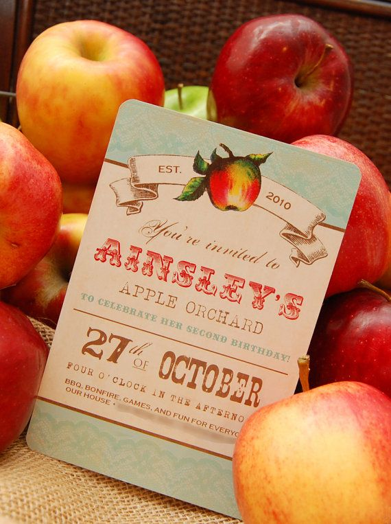 Vintage Apple Orchard Invitation for Birthday Party by BeeAndDaisy #pinAtoZ