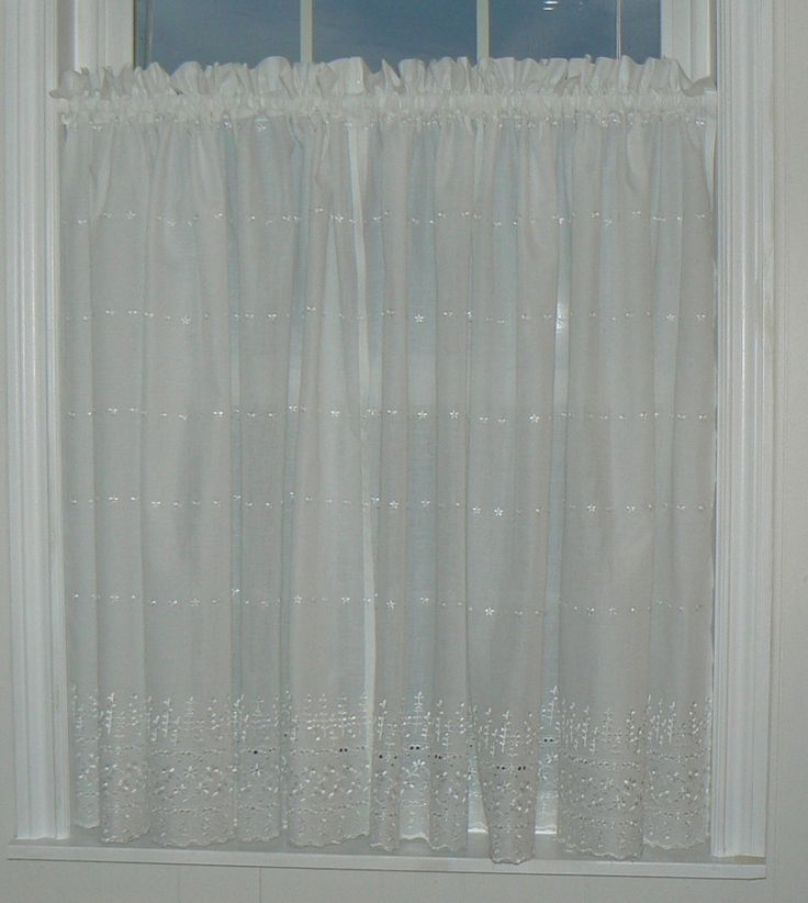 White Eyelet Curtain SET, Lace Curtain, Country Chic, Cottage Curtain, Country Curtains by PhancyBitsnpieces on Etsy