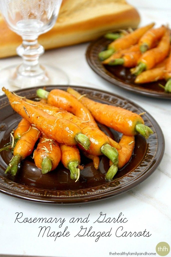 Rosemary and Garlic Maple Glazed Carrots...an easy dish ready in about 10 minutes and it's vegan, gluten-free, paleo-friendly and with no refined sugar.  Enjoy! #vegan #glutenfree #paleo #carrots #cleaneating #healthy