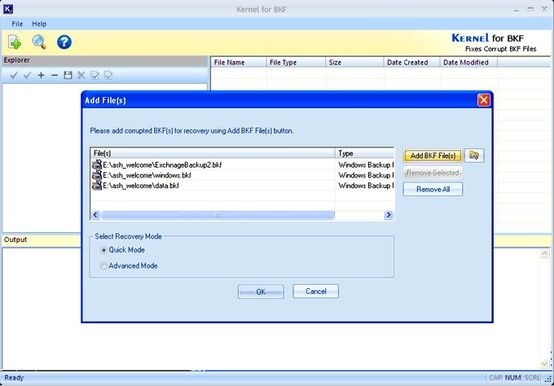Kernel for BKF repair tool to repairs, fixes corrupted bkf backup files quickly. Software recovers files from ms backup or bkf file created using Windows (ntbackup.exe), Veritas Backup Exec Software.