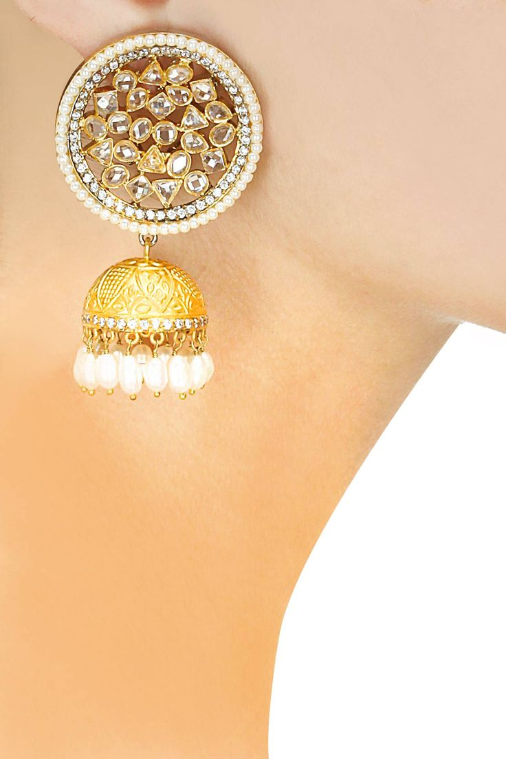 Gold finish kundan and pearl jhumki earrings available only at Pernia's Pop-Up Shop.