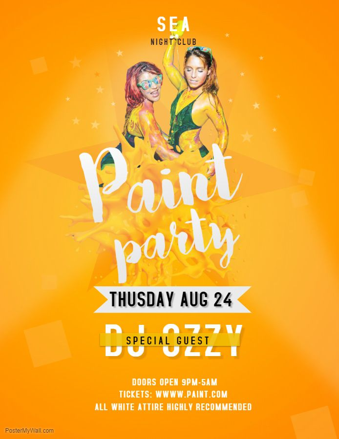 yellow paint party event flyer template paint night flyer