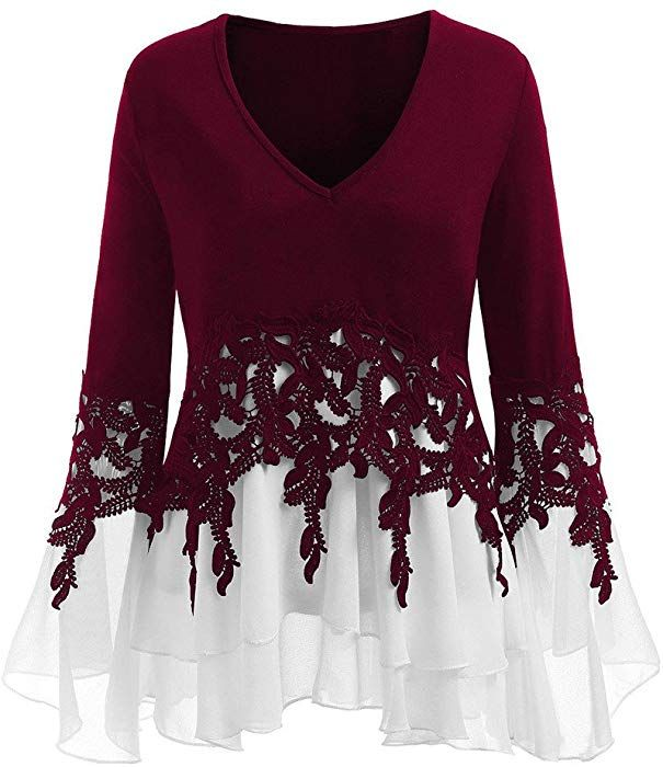 Autumn Womens Casual Applique Flowy Tank Woven V-neck Long Sleeve Blouse Tops L0