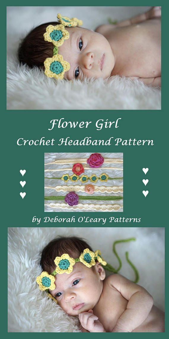 Crochet Flower Headband Pattern  by Deborah O'Leary Patterns #crochet #baby #headband #flowers  #patterns