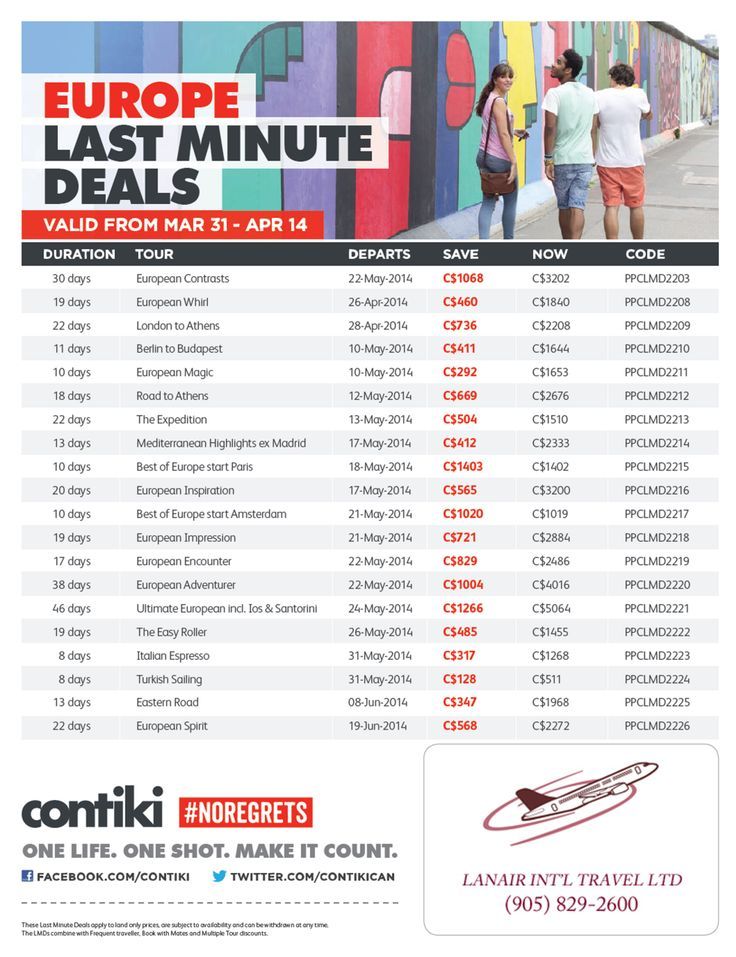 #Contiki #Lastminutedeals #Travel #Europe #traveldeals #LanairTravel