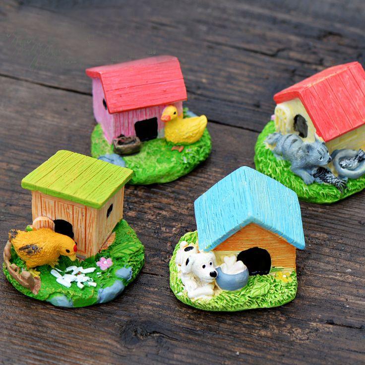 1Pcs Dog Chicken Duck Cat House DIY Resin Fairy Garden Craft Decoration Miniature Micro Gnome Terrarium Gift F0108