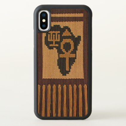 Fringes Africa Symbols Crochet Print Wood Bumper iPhone X Case - wood gifts ideas diy cyo natural
