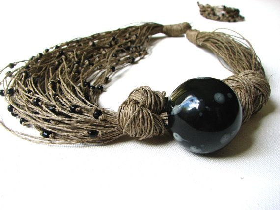 Ceramic Black Roses - linen necklace. $34.00, via Etsy.