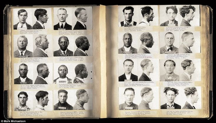 A hosts of mugshots with an array of characters are shown above in a police ledger from Sa...
